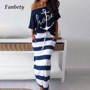 Fanbety femmes sexy de l'épaule ensembles deux pièces chemises habillées d'impression bateau ancre Robe rayée Ensembles Lady casual robe cheville longueur