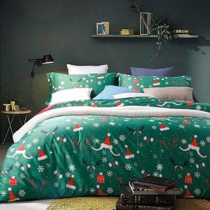 42 600TC Egyptian Cotton Christmas Bedding set King Queen Size green Bed set Duvet Cover Bedsheet parrure de lit