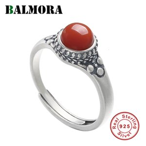 BALMORA 100% Real 925 Sterling Silver South Red Carnelian Resizable Rings For Women Gift Fashion Retro Jewelry Anillos