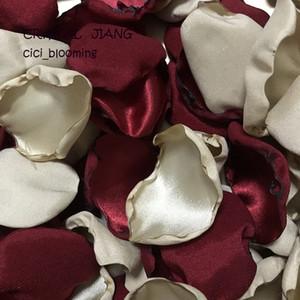 Темно бордовый шампанского Лепестки роз стол декора Лепестки Для Gothic Свадьбы Цветочница Rose Petal
