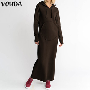 De manga larga de color sólido otoño del vestido maxi VONDA mujeres ocasionales flojos Hoodies sudadera con capucha de los vestidos más el tamaño del partido