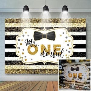 Happy 1st Birthday Backdrop Boy Gold Glitter Black White Stripes Tie Background Mr Onederful First Birthday Party Decor Supplies