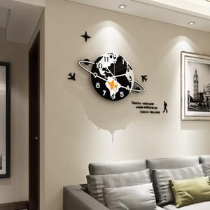 MEISD Творческий мультфильм Планетарная Plane Большой настенные часы Современный дизайн Бесшумная Висячие часы с настенные наклейки Home Decor Часы