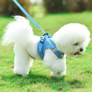 صدرية نموذج الكلب تسخير المقود مجموعة تنفس شبكة حزام سترة طوق حبل كلب لوازم LXJ158