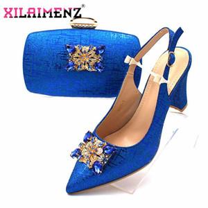 Классики африканских женщин Royal свадьба обувь и сумки в матче с сверкающих кристаллов в Royal Blue Цвет итальянский Набор стилей
