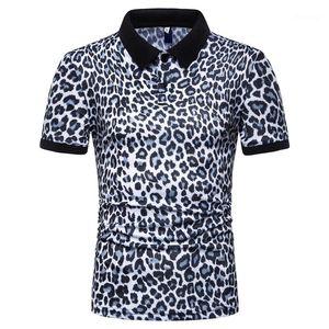 Короткий рукав Топы 2020 Мужчина Leopard Polo лето Дизайнер Мужской Повседневная мода рубашки-поло тройники