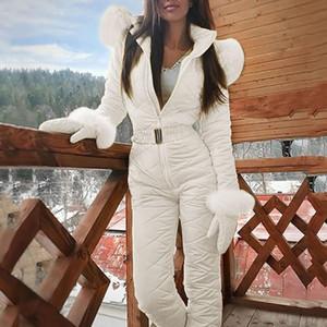 패션 원피스 스키 점프 수트 캐주얼 두꺼운 겨울 따뜻한 여자의 스노우 보드 Skisuit 야외 스포츠 스키 바지 세트 지퍼 스키 복
