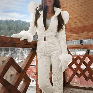 One Fashion Piece Ski-Overall beiläufige Thick Winter warme Frau Snowboard Skisuit Outdoor Sports Ski Pant Set Zipper Skianzug