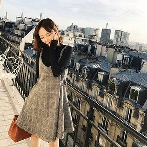 AUfRP 2019 outono e novos coreano saia inverno com vestido estilo vestido das mulheres suspensórios inverno de lã xadrez assentamento suspender pano das mulheres