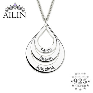 AILIN Customized Engraved Water Drop Shaped Necklace 925 Sterling Silver Family Name Necklace Women Mother's Day Gift Jewelry