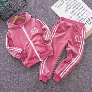 Muchachos de las niñas jogging sistemas de la ropa de primavera sutumn niños ocasional Hoodies + pantalones 2pcs unisex chándales para Bebés y Niños Fshion Traje N8rL #
