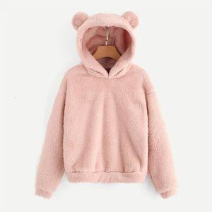 Pink Preppy Lovely With Bears Ears Solid Teddy Hoodie Pullovers Sweatshirt Autumn Women Campus Casual Sweatshirts