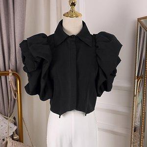 Hot Sale Ruffles Women Blouse Lapel Collar Butterfly Short Sleeve Loose Shirt Female Fashion Clothes