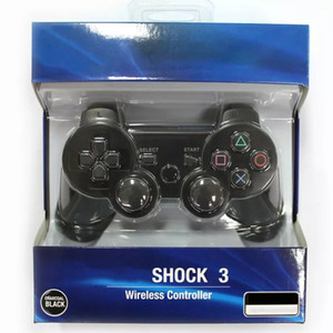Atacado Dualshock 3 controlador sem fio Bluetooth para PS3 Vibration Joystick Gamepad Jogo controladores com navio Retail Box gratuito