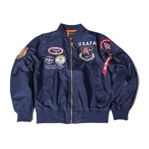 Trendy American Men's Spring fall Thin coats MA-1 Air Force Bomber Jacket Embroidery Functional Wind Jacket