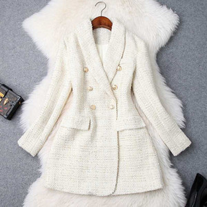 Runway 2020 Designer Blazer Women's Double Breasted Metal Button Long Sleeve Notched Collar Jacket Wool Blends Tweed Blazer Coat
