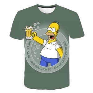 Los Simpson animados 3D impreso ropa divertidas tapas ne redondo y mangas cortas infantiles de verano de los niños de la camiseta de los hombres de las mujeres
