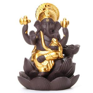 4 Renkler Seramik Ganesha Fil Tanrı Buda Heykeller Backflow tütsü brülör Ev Ofis Tütsü Koniler DHC1737