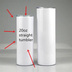 Wärme Sublimation 20 Unzen Gerade dünne Tumbler Wärmeübertragung Gerade Tassen KANN DIY Edelstahl Tumbler Isolierte Wasserflaschen mit Deckel