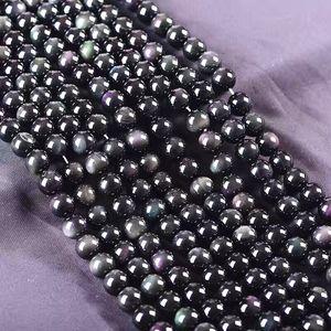 iF5Fl hecho a mano natural del arco iris de color doble semi-acabado DIY DIY accesorios naturales de obsidiana arco iris del ojo doble del color de los ojos hechos a mano obsidian