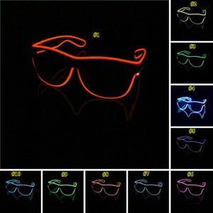 EL simples gafas de moda El alambre de neón del LED enciende para arriba del obturador en forma de resplandor vidrios de Sun del traje del partido del delirio de las gafas de sol brillante DJ DWE638
