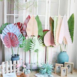 Renkli Yapay Tropik Palmiye Yapraklar Plastik Monstera Yapraklar düğün yol için çiçek ev 2P3B için # Yapay Ağaçlar lider dekoratif