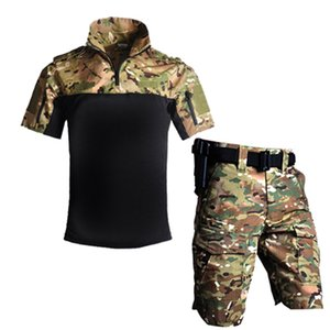 Tactical US Army Camouflage Combat Uniform Men Paintball Suit Summer Outdoor Shirt + Pants Multicam Short Set