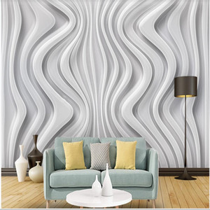 Modern 3d wallpapers art abstract grey lines three-dimensional curve TV background wall modern wallpaper for living room