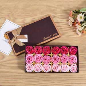 18pcs Box Romantic Rose Soap Flower Heads Artificial Flowers Bathing Petals For Valentine's Day Wedding Decoration 23*11*4.8cm