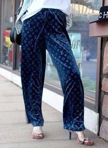 2020 ultimo disegno Velvet Cascante sensazione Wide-Leg Pantaloni Autunno Inverno allentati pantaloni di modo della molla diritta tubo casuali sottili Grandi Dimensioni Pantaloni