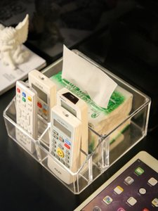 Clear Acrylic Tissue Case Desktop Living Room Office Tissue Holders Mobile Phone Remote Control Napkin Sundries Storage Box