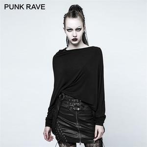 PUNK RAVE Women Punk Rock Street Daily T-shirt Gothic Black Girls Fashion T-shirt Elasticity Knit Korean Tops Tees 0924