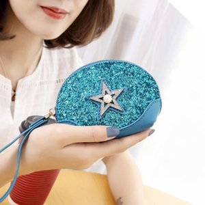 New- Women Five-pointed Charm2019 Pearl Sequins Small Sleeper Coin Wallet Handbag Shipping