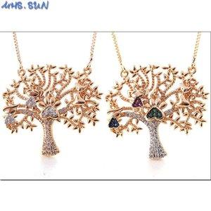 MHS.SUN Luxury Family Tree Циркон Подвеска Ожерелье Женщина цепь ожерелье Мода Choker CZ ювелирные изделия заглушки для девочек Подарков