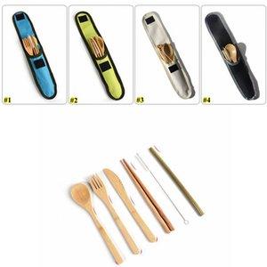 7pcs de bambú ecológico Cubiertos Viajes Cubiertos vajilla de paja de bambú portátil con bolsa de tela cuchillos tenedor cuchara palillos HWC1853