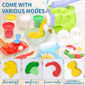 Children Pretend Role Play House Simulation Colorful Clay Suit Diy Handmade Noodle Maker Mud Kitchen Kids Girls Education Toys