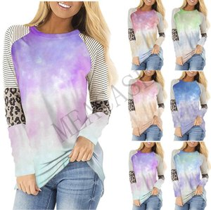 Frauk PulloverHoodies Tie-dye Farbe T-Shirt Striped Patchwork-Leopard druckte T-Shirt Herbst Langarm Sweatershirt Tops D81101
