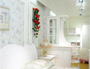 Искусственные шелковые розы ротанга поддельные розовые стены висит гирлянда лоза свадьба дома декоративные цветы струна сад висит гирлянда bwf3356