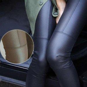 Büyük İndirim 2020 Yeni Trend Örgü Dokuz dakika pantolon Moda seksi Suni deri ince PU elastik tozluk 2 Renkler womens