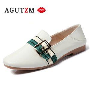 loafer'lar AGUTZM Kadın Flats gündelik kadın ayakkabı deri kayma Yaz tasarım yuvarlak ayak Düz renk moda bayan zapatos mujer