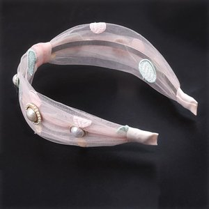 Rhinestone For Embroidery Hair Boutique Hiar Hoops Girls Accessories Lace Cn Kids Pearls Headbands Organza Gauze Bands CroiA topscissors