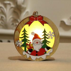 Madeira Natal luminescente Pendant Papai Noel Snowman Padrão Árvore de Natal Ornamento oco Decor Xmas de madeira com luz LED GGA3681-5