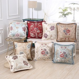 Real bordado Pillowcase 48 * 48 centímetros sofa travesseiro bordado Case Cover Rose Peony Flower Car Sofá Fronha Home Decor DHB1064