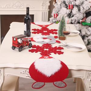 1x Bezi 170 * 35cm Merry Christmas Kırmızı kar tanesi kardan adam Long Table Runner Bezi Dekor Masa Runner Keçe