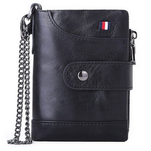 Luxury Mens Genuine Leather Wallet With Zipper And Hasp Vintage Money Clip Credit SIM Card Holder Coin Purses Pouch Wedding Gifts For Man