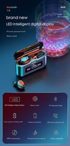 2020 New Bluetooth Earphone Wireless Headphone LED Display Charging Box 2200mAh TWS Sports Waterproof Earphones Headset Earbuds