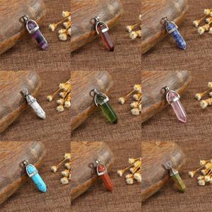 Frauen Hexagonal Spalte Anhänger Naturstein Achat-Anhänger Männer Art und Weise Heilung freien Kristallen Halskette Accessary kreative bunte 1 4LG B2