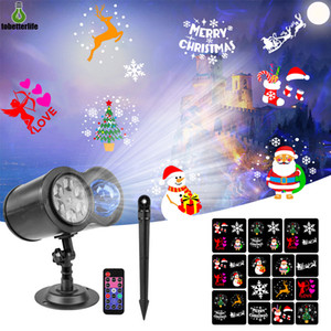 Double Head Projector Lamp RGBW Christmas Lights Outdoor LED Laser Projector Stage Light Waterproof 10 Waterwaves 14 patterns no slides