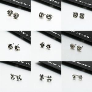 erkek ve kadınlar için Saf gümüş S925 Krono Quan Zhilong krom kalp çapraz ve küpe çiçeği beş köşeli yıldız nal küpe
