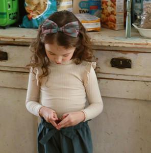 Sweet girls ruffle sleeve T-shirt 2020 spring new children long sleeve T-shirt kids cotton princess tops A4154